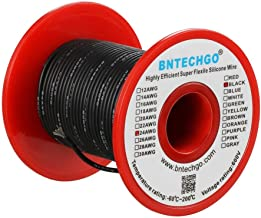 BNTECHGO 24 Gauge Silicone Wire Spool Black 50 feet Ultra Flexible High Temp 200 deg C 600V 24 AWG Silicone Rubber Wire 40...