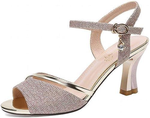 LTN Ltd - sandals Bouche de Poisson Talon Haut avec des Sandales pour Femmes Chaussures D'été Plate-Forme, Or, 34