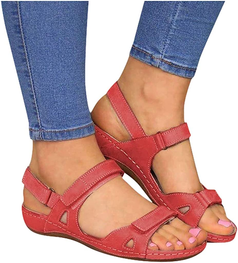 Niceast Sandals for Casual Summer, Womens Open Toe Comfortable Platforms & Wedge Sandals Flat Sandals