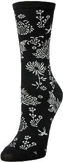 Cascading Floral Cotton Blend Crew Socks
