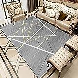 Kunsen alfombras Redondas Baratas Alfombra de salón de salón Antideslizante Resistente a Las Manchas Simple geométrica Creativa tapetes para Sala Gris 6ft 7''X9ft 10'' alfombras de habitaci200X300CM