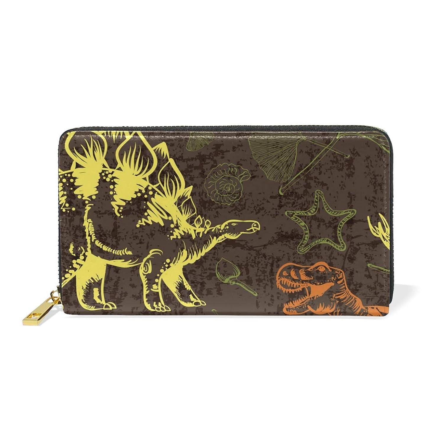 怖い拍手かき混ぜるマキク(MAKIKU) 長財布 レディース 大容量 恐竜柄 レザー 革 プレゼント対応