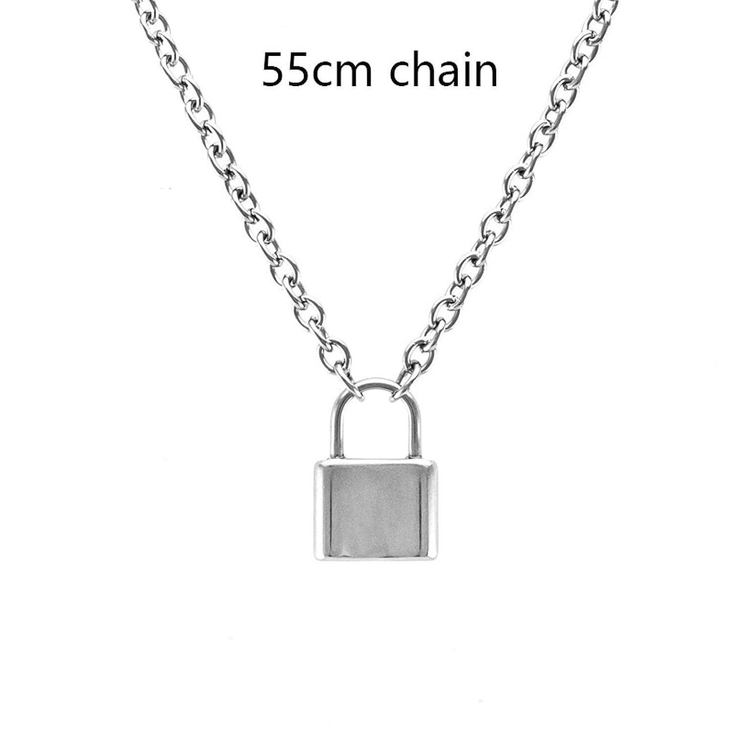 Joyhul Handmade Men Women Stainless Steel Square Lock Pendant Necklace Padlock Charms Choker Necklace