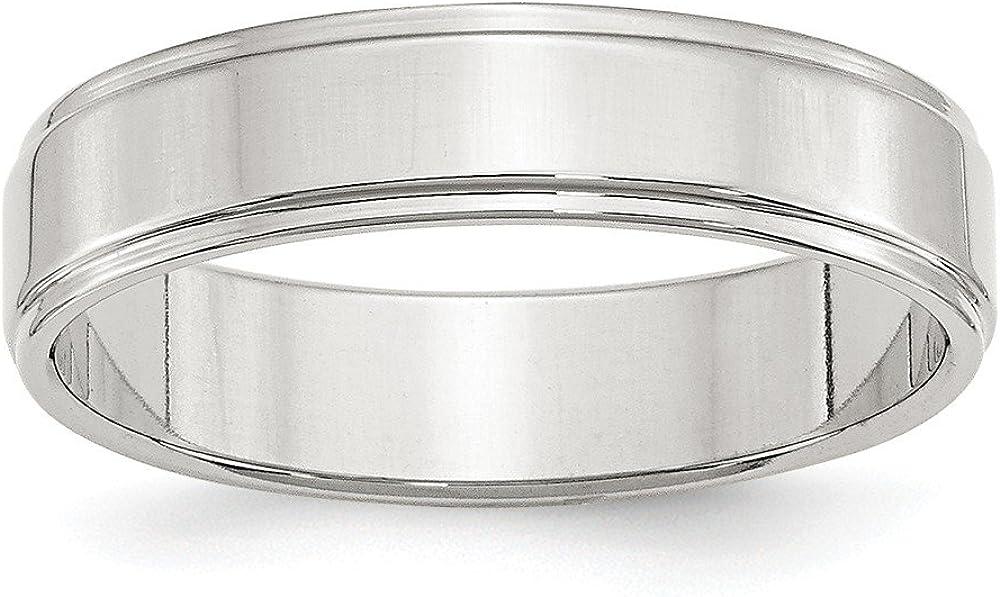 超目玉 未使用 Solid 925 Sterling Silver 5mm Flat Edge Band Step with Wedding