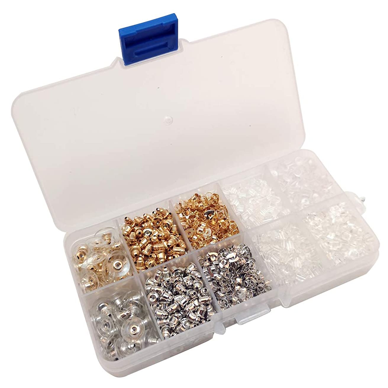 Chenkou Craft Assorted 10 Styles 1530pcs Earring Backs Earring Back Clips Bullet Shape Earring Backs Butterfly Metal Rubber Secure Earring Backs for Safety (Mix, Mix)
