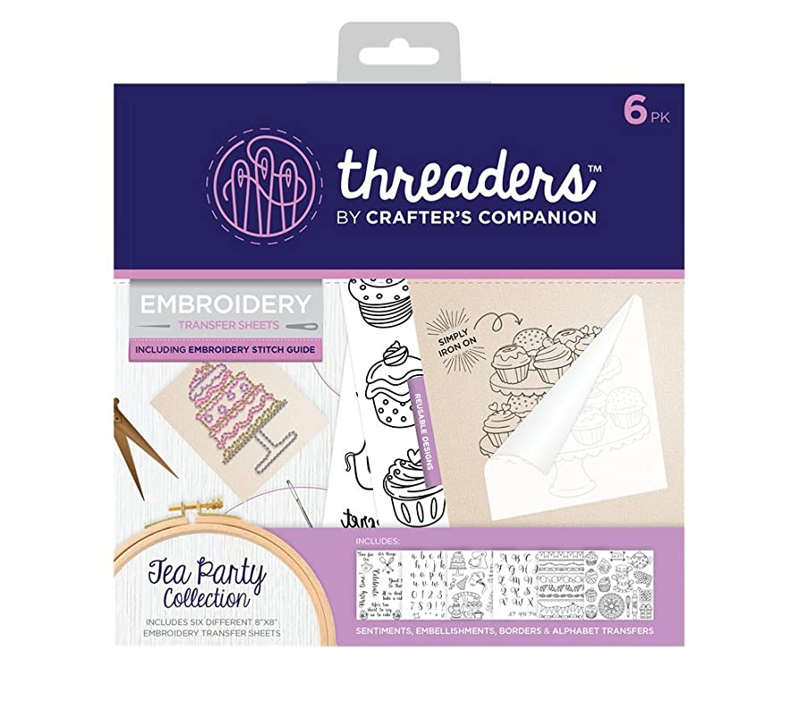 Threaders TH-1149 Embroidery Transfer Sheets - Tea Party, Multicolor