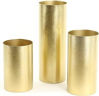 Koyal Wholesale Brushed Metal Cylinder Vases, Candle Holders Set of 3, Brass Metal Cylinder Candle Holders (Gold)