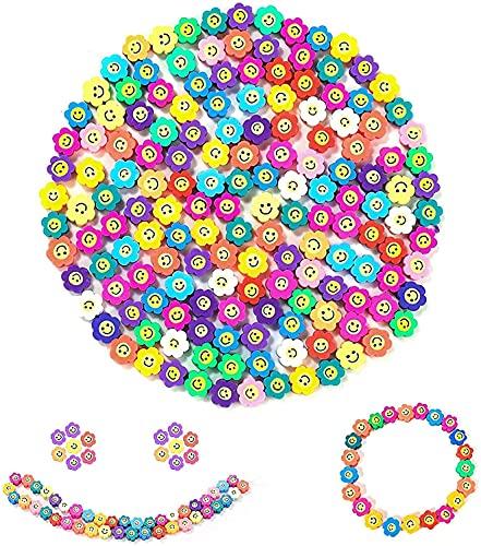 ERYUE 100 cuentas de cara sonriente y cuentas de fruta, cuentas de arcilla polimérica, lindas cuentas de cara feliz para hacer joyas, pulsera
