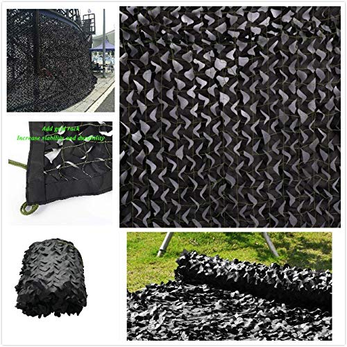ZHhome Camouflage Netting Black, Oxford Fabric Awning Camo Sun Shade Netting Sunscreen Mesh For Kids Bedroom Decoration Garden Gazebo Terrace Roof Protective Various Sizes 2m 3m 4m 5m 6m 8m 10m