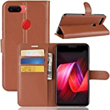 YKDY Litchi Texture Horizontal Flip Leather Case for OPPO R15 Pro, with Wallet & Holder & Card Slots (Black) (Color : Brown)