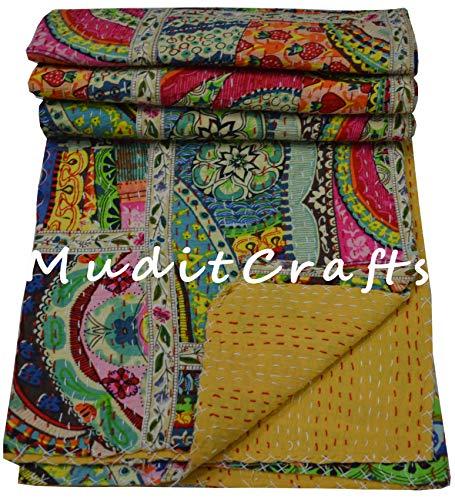 Indische Kantha Steppdecke, Patchwork-Design, handgefertigt, Kantha-Decke, Bettdeckenbezug, Twin Kantha Tagesdecke, Bohemian Bedding Größe (mehr), 152,4 x 228,6 cm