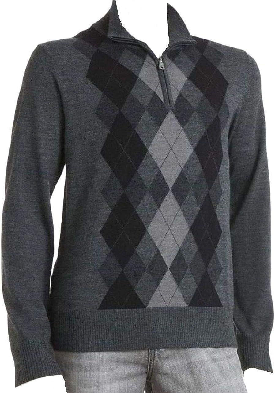 LIZ CLAIBORNE Apt 9 Argyle 1/4 Zip Sweater Merino Wool Blend Sizes Big & Tall Grey