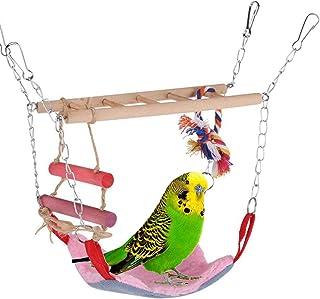 ZYYRSS Ensemble de jouets pour oiseaux - Échelle en bois - Hamac chaud - Lit pour oiseaux - Perchoir pour cage à oiseaux -...