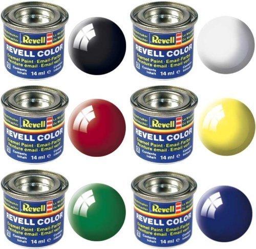 Revell Basisfarbpalette Glanzfarben glänzend – 6x 14 ml Revell Email Farbdosen – (32104 - Weiß) (32107 – Schwarz) (32112 – Gelb) (32131 – Rot) (32150 – Blau) (32161 - Grün)