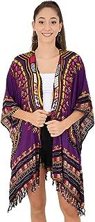 Womens Kimono African Dashiki Print Lightweight Beach Cardigan Cover Up