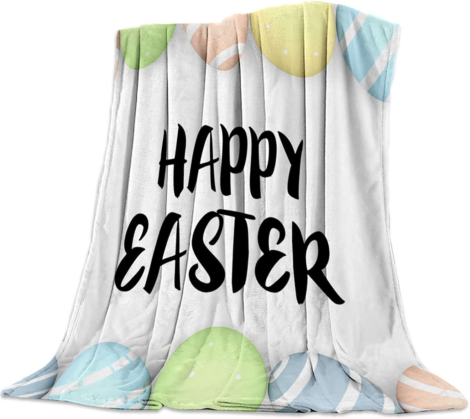 Cozy Warm Lightweight Microfiber Throw Blankets, Soft Reversible Flannel Fleece Bed Throw Happy Easter Day Easter Eggs,Luxury Fuzzy Blankets for Adults Girls Kids Boys Dogs Couch,39''W x 49''L