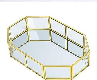 Vassoio Portagioie Decorativo in Metallo a Specchio, Oro Vetro Organizzatore di Gioielli Cosmetici, Trucchi Scatole Porta ...
