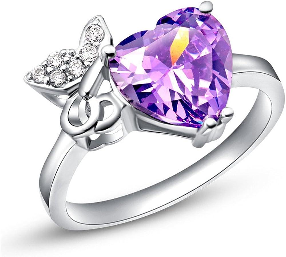 Rapid rise YOUTOTCRY 925 Sterling Silver Bargain CZ Crystal Heart Butterfly Purple