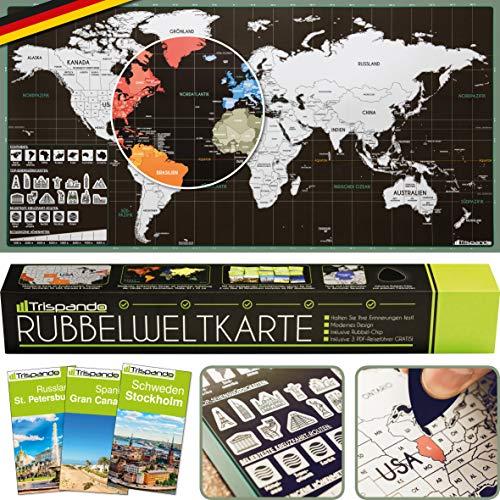 Trispando 2er Set Weltkarte zum Rubbeln inkl. 3 Reiseführer - Rubbelweltkarte in Deutsch - Poster Landkarte Zum Freirubbeln 85 x 43 cm inkl. Geschenkverpackung