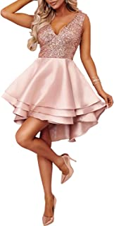 Vestido de Las Mujeres V Cuello de Las señoras Mini Vestido de Fiesta sin Mangas de Lentejuelas de múltiples Capas Swing Corto flagelado Vestidos Patinador para la Noche