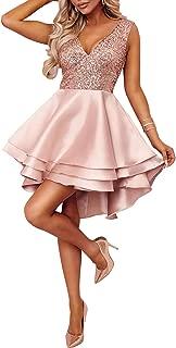 Ancapelion Damen Kleid Sexy V-Ausschnitt Mini Kleider mit Glänzend ärmellose Pailletten Schlank Kurz Ausgestellt Skater Kleider für Party/Abend/Verein/Cocktail/Formal