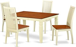 Deluxe Premium Collection 5 Piece Dinette Set with One Weston Dining Room Table & 4 Solid Wood Seat Chairs Buttermilk/Cherry Decor Comfy Living Furniture