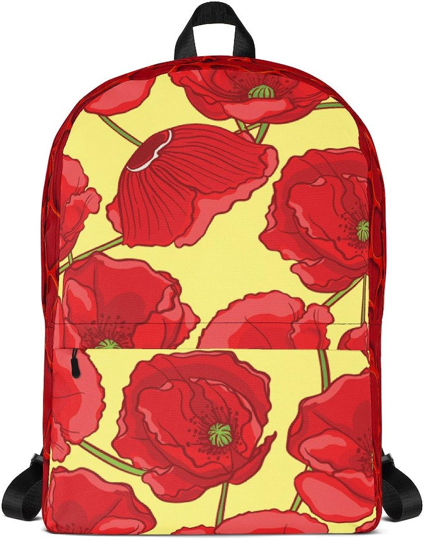 Far West Fashion Yellow Poppy Flower Swirl Backpack