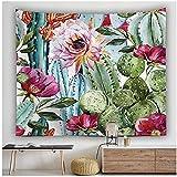BD-Boombdl Tapiz colgante de pared bohemio acuarela suculentas cactus plantas en maceta fondo dormitorio casa de campo decoración boho 59.05'x39.37'Inch(150x100 Cm)