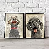 Nacnic Pack de láminas para enmarcar Animales BURLONES. Posters Estilo Acuarela con imágenes de Animales. Decoración de hogar. Láminas para enmarcar. Papel 250 Gramos