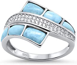 Oxford Diamond Co Sterling Silver Natural Larimar & Cubic Zirconia Fashion Ring Sizes 5-10