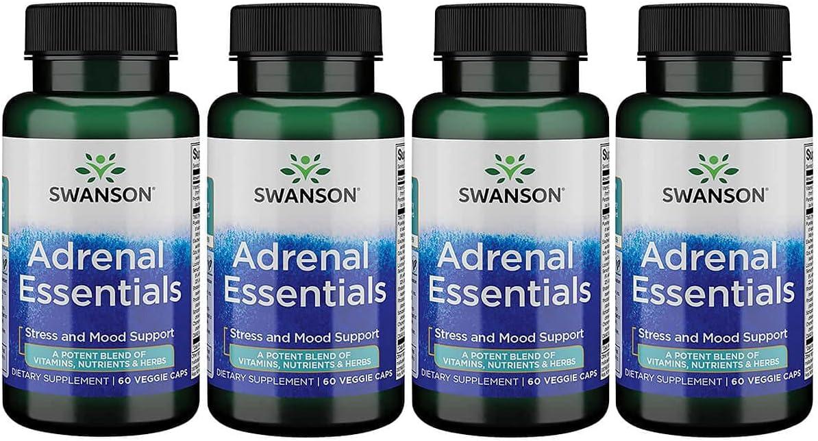 Swanson Adrenal お見舞い Essentials 60 Capsules 4 国際ブランド Veg Pack