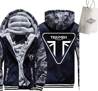 GUCCPAI Espesar Más Terciopelo Capucha Triu-Mph Impresión Cárdigan Calentar Chaqueta Hombre Y Mujer Casual Sweatshirt Y/A/L