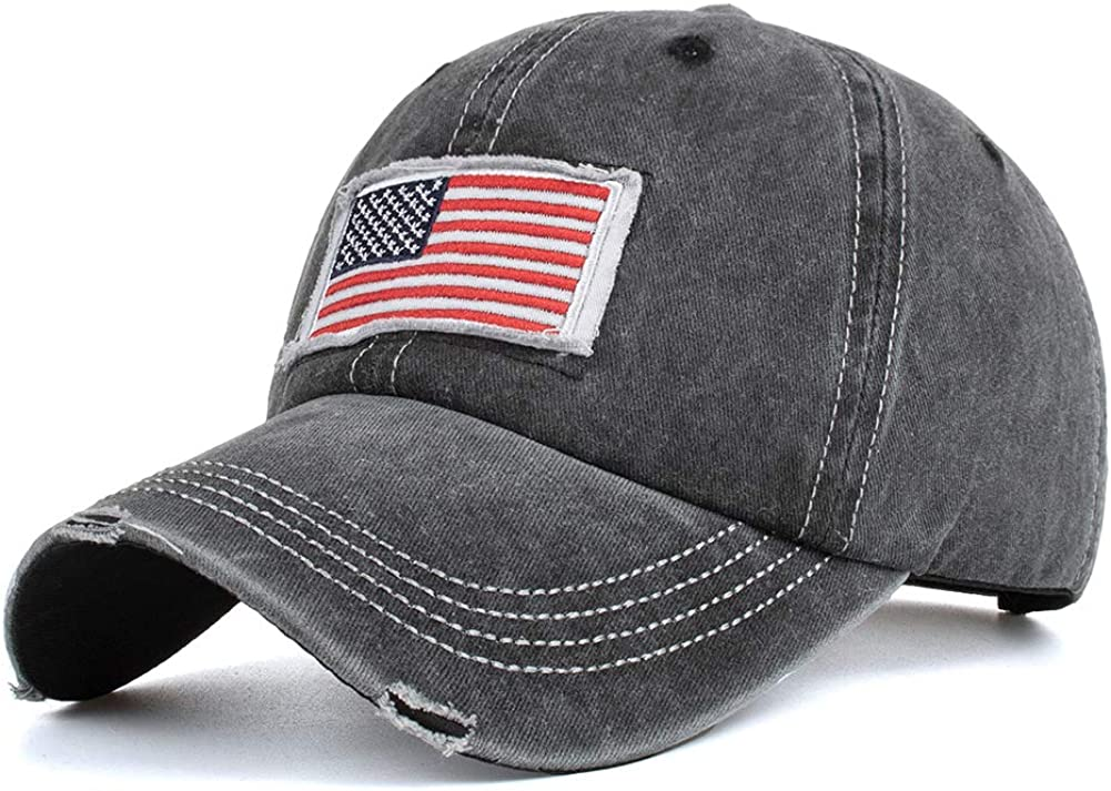 YAKER Oakland Mall Washed Denim American Flag Embroidered Portland Mall Operator Baseba Cap