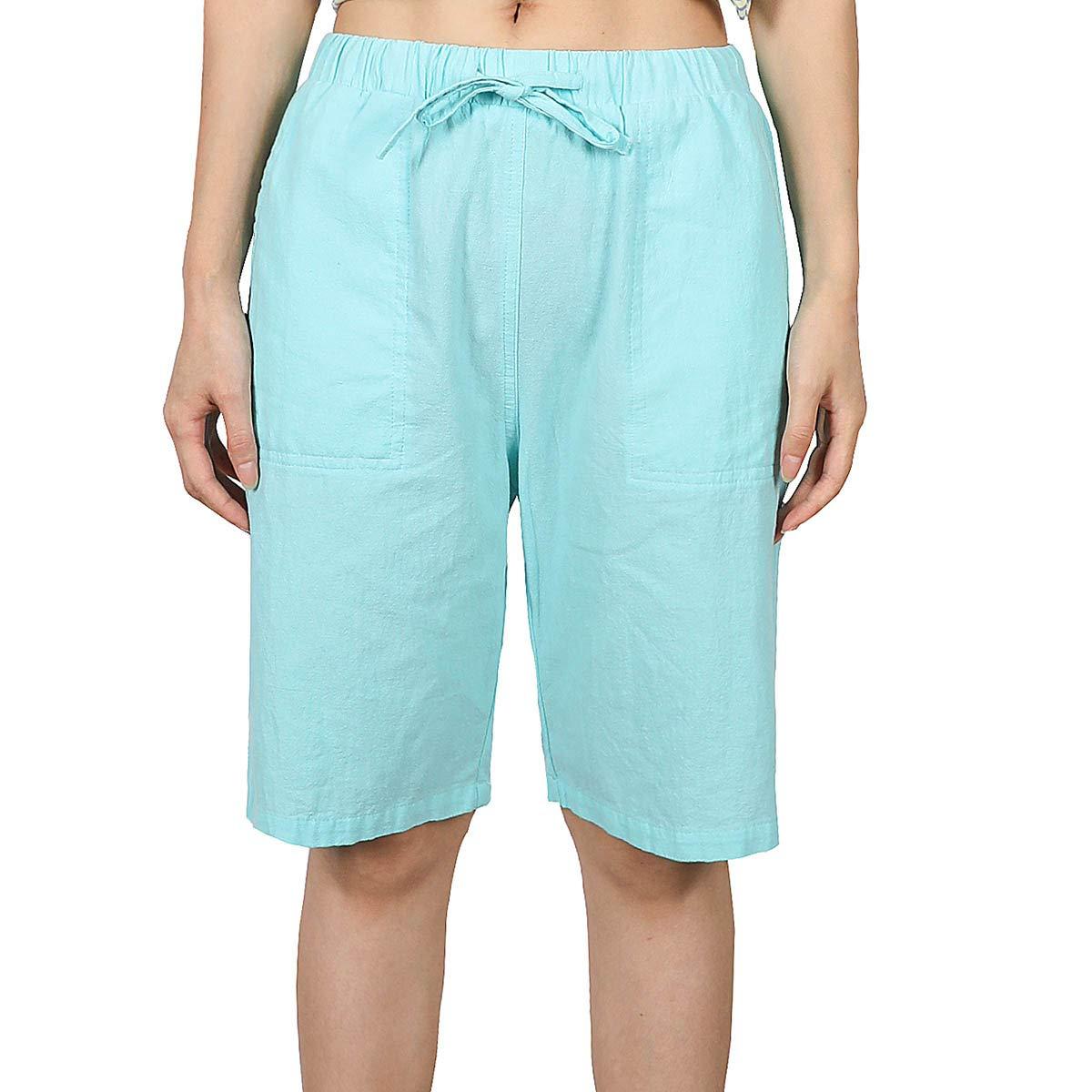 Summer Womens Shorts pockets shorts C1394 linen Casual Shorts yellow shorts Linen Drawstring  Shorts Elastic Waist Shorts Linen shorts