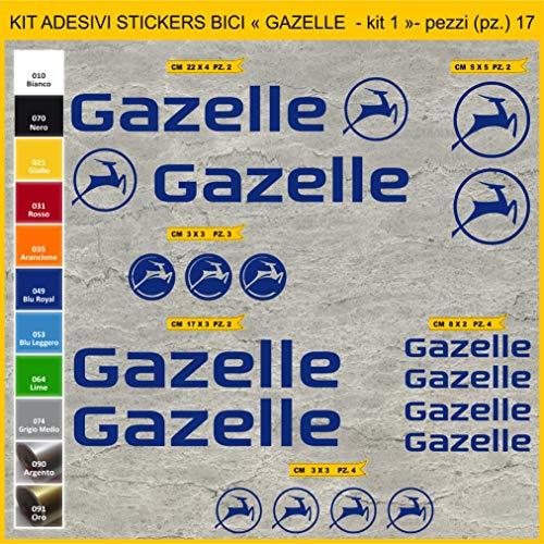 Aufkleber für Fahrrad Gazelle Kit 1-Aufkleber 17 Stück - Farbe getönt - Fahrrad Cycle Pegatina Code 1029, 049 BLU ROYAL