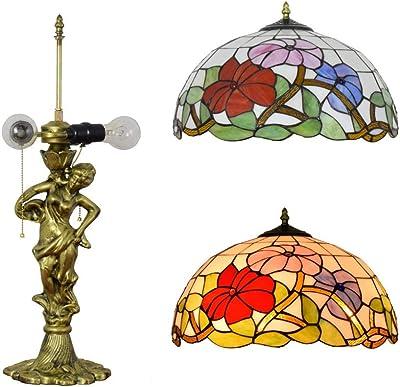 Tiffany Style Retro europeo Lámparas de mesa rojas Vidrieras ...