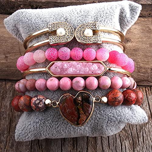 yuge Juego de Pulsera de 5 Piezas de Pulsera y Piedra Natural de Moda para Regalos de Mujer Rosa