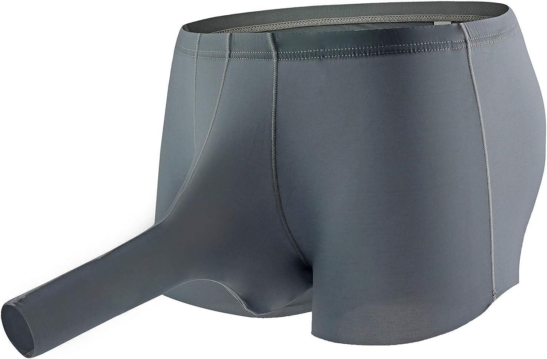 Men's Sexy Underwear Briefs with Sheath Nylon Soft Elephant Thongs T Back G-Strings Triangle Underpants (Gray- B, XXL)