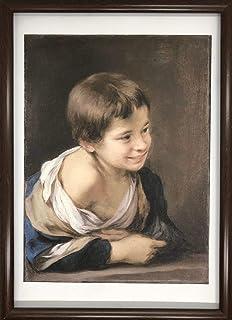 バルトロメ エステバン ムリーリョ 窓枠に身を乗り出した農民の少年 A4 ポスター 輸送用 額付き ホビー おもちゃ 名画 絵画 グッズ 油彩
