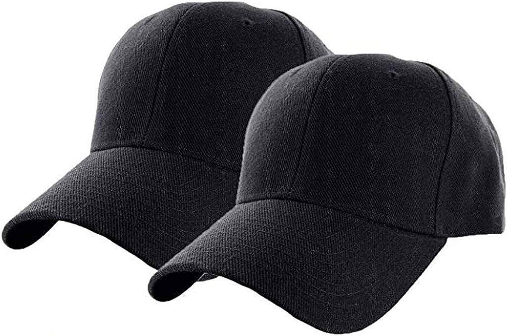 Set Inexpensive of 2 Plain Adjustable NEW Baseball Color Classic Unisex Pure Cap