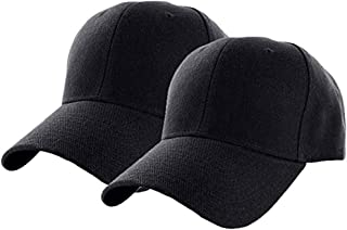 Set of 2 Plain Adjustable Baseball Cap Classic Adjustable Hat Men Women Unisex Ballcap 6 Panels