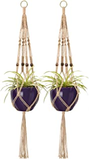 Mkono 2 Pcs Macrame Plant Hangers Indoor Outdoor Hanging Planter Basket Jute Rope with Beads 4 Legs 40 inch