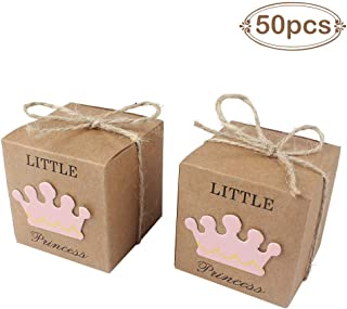 AerWo 50pcs Little Princess Baby Shower Favor Boxes + 50pcs Twine Bow, Rustic Kraft Paper..