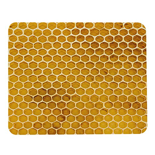 Wozukia Newly Pulled Honey Bee Large Mouse Pad Honeycomb Beeswax on Plastic Foundation with Pollen Tracks Yellow Customized Non-Slip Rubber Mouse Pads Gaming and Office Mouse Mat 9.5x7.9 Inch