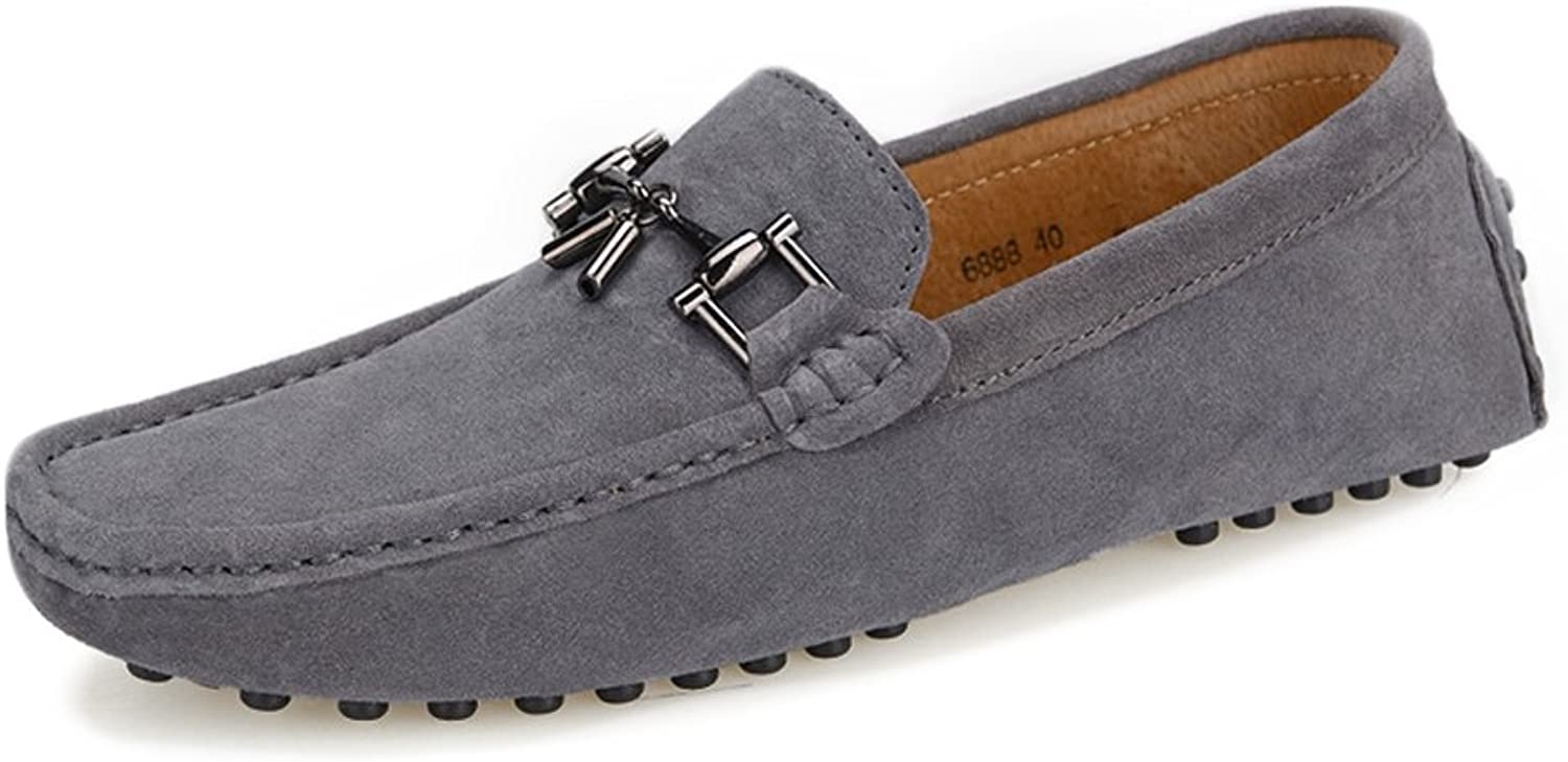 XXY Men's Driving Penny Loafers Suede Genuine Leather Boat Moccasins Studs Sole with Metal Decor Dress shoes
