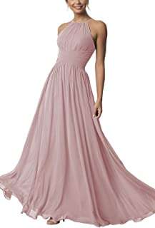 Women's Halter Bridesmaid Dresses Long Chiffon A-Line Prom Formal Wedding Party Gowns