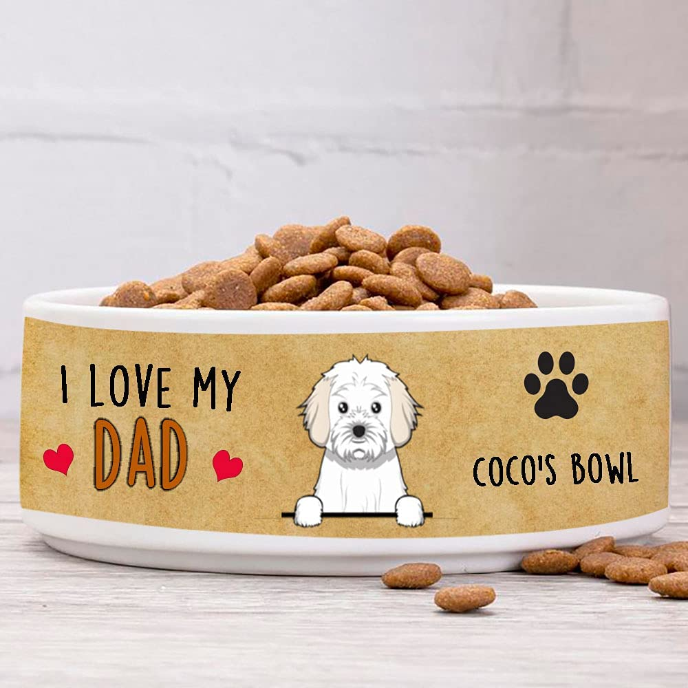Personalized Dog Bowls, Custom Dog Breed with Cavachons Cartoon Ceramic Dog Food Bowl, Ceramic Dog Water Bowl for Small & Large Dog Dowl Puppy Pet Dish of Food and Water