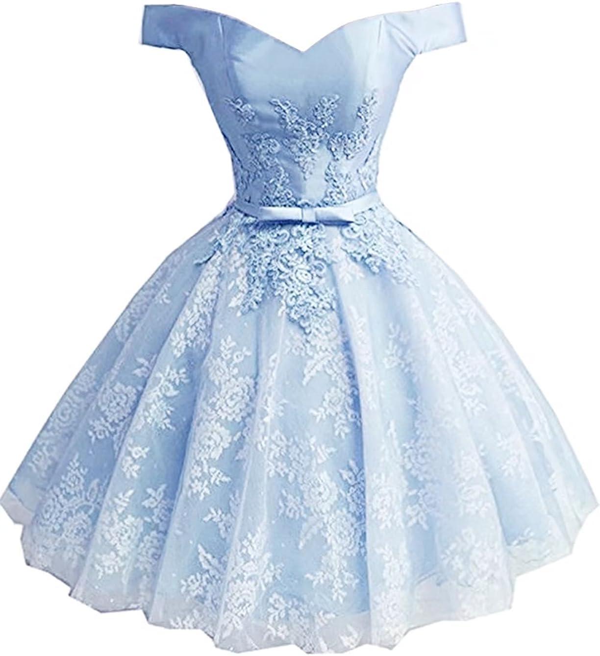 AiniDress Princesses Off The Shoulder Short Prom Dresses Appliques Party Homecoming Dress