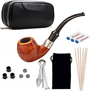 Smoking Pipe Set, Pear Wood Tobacco Pipe and Black Pipe Bag Kit with Smoking Accessories by Capo Lily