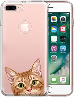 FINCIBO Case Compatible with Apple iPhone 7 Plus/iPhone 8 Plus, Clear Transparent TPU Protector Case Cover Soft Gel for iPhone 7 Plus / 8 Plus (NOT FIT iPhone 7/8) - Orange Tabby Kitten Cat